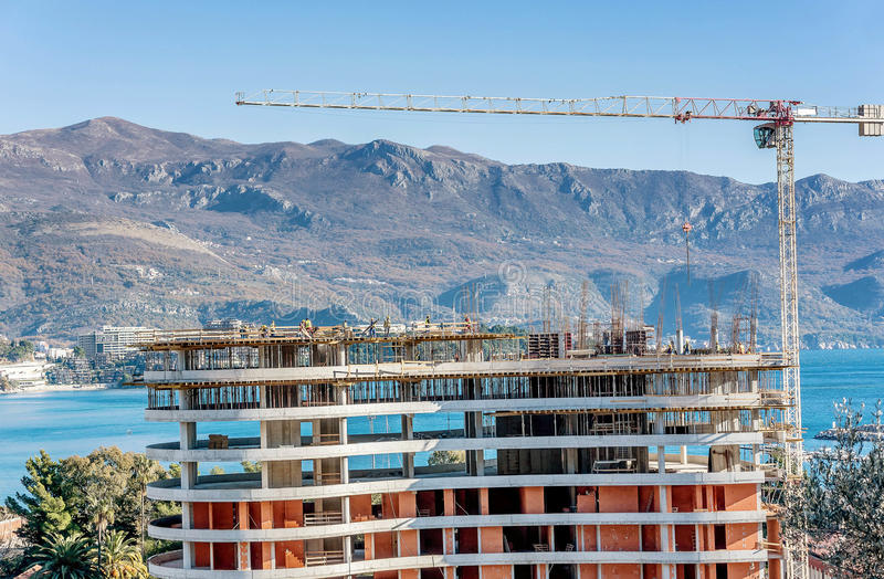 New building construction site in Budva, Montenegro royalty free stock photography
