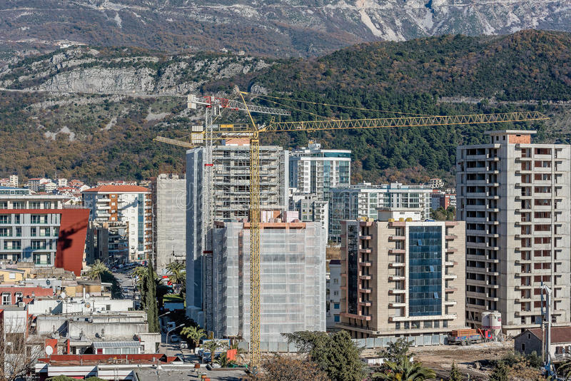 New building construction site in Budva, Montenegro stock image