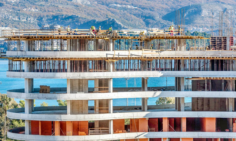 New building construction site in Budva, Montenegro stock photography