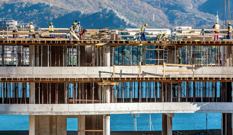 New building construction site in Budva, Montenegro royalty free stock image