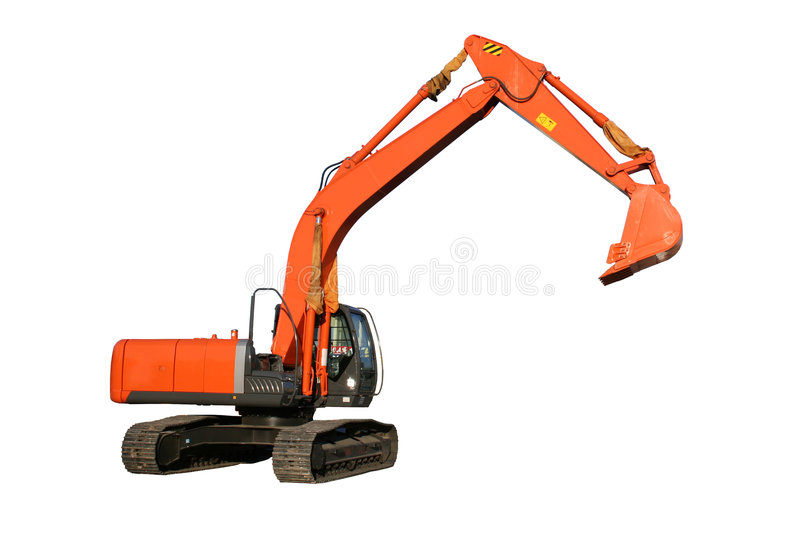 New building dredge of red color on a white background stock images