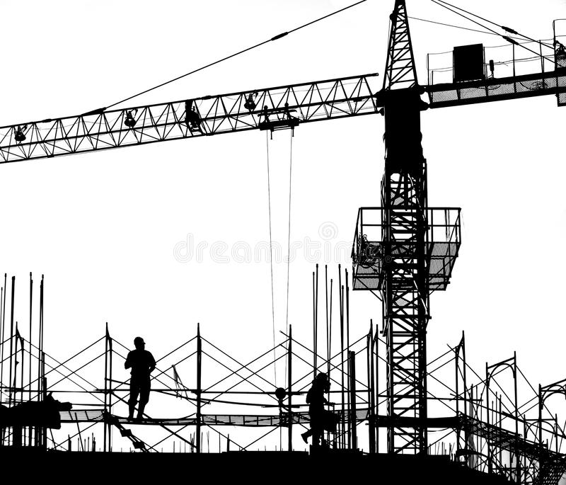 New Building Site in Silhouette stock image
