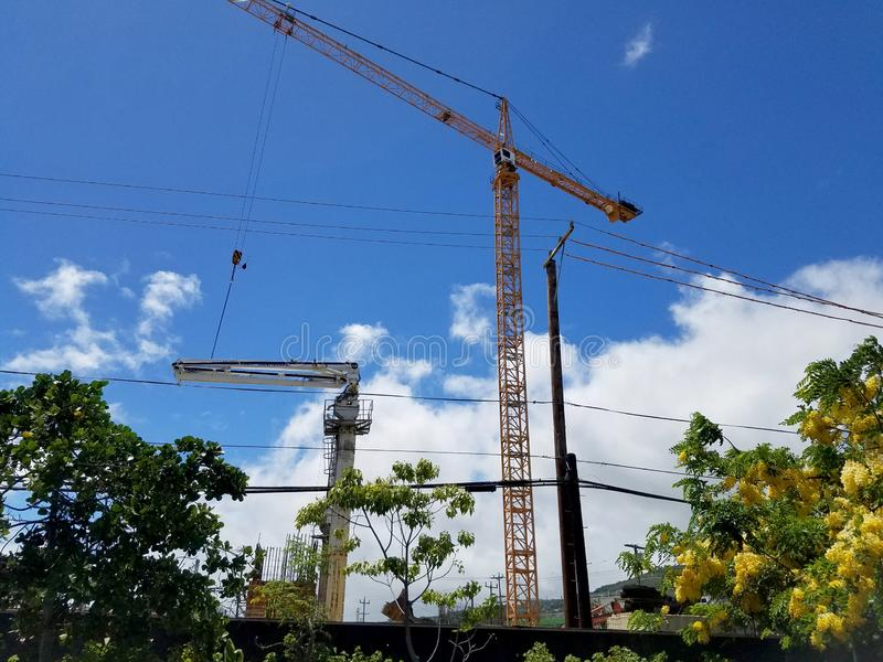 New Building under construction with Cranes in the air royalty free stock image