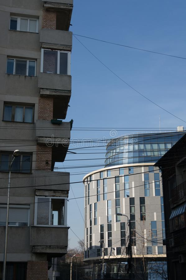 New vs old architecture in Bucharest royalty free stock image