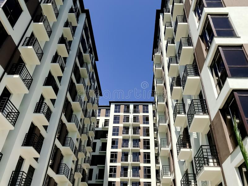 New buildings in Adler city. Bottom view. Sochi, Russia royalty free stock photography