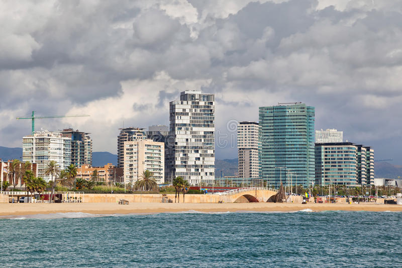 New buildings at Sant Marti district, Barcelona. Beach and New buildings at Sant Marti district, Barcelona, Spain stock photos