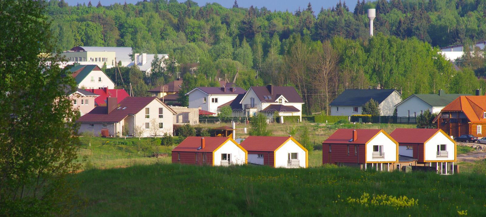 New built houses. Surrounded by nature, forest stock images