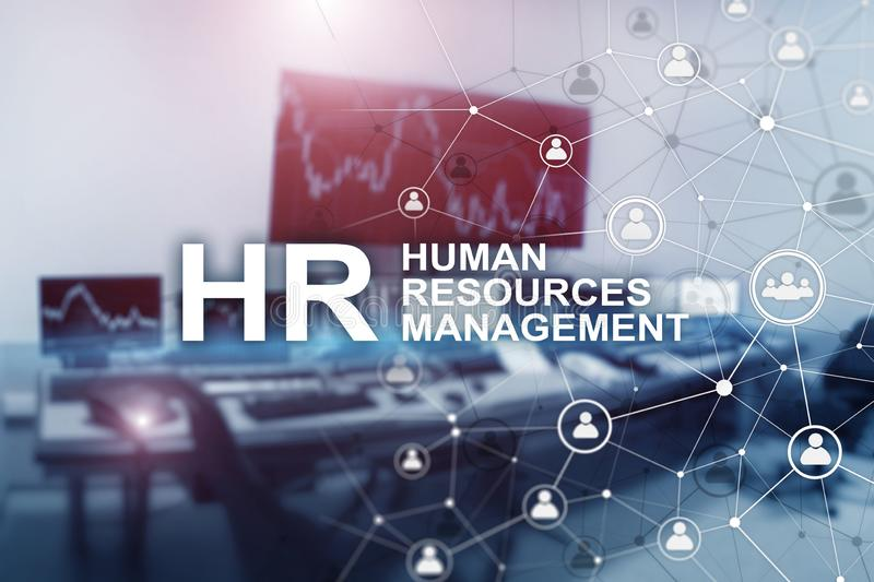 New Business Concept: Human Resources Managemen. Inscription on the background on blurry office.  vector illustration