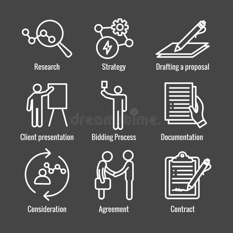 New Business Process Icon Set with Bidding Process, Proposal, Contract. New Business Process Icon Set w Bidding Process, Proposal, & Contract stock illustration