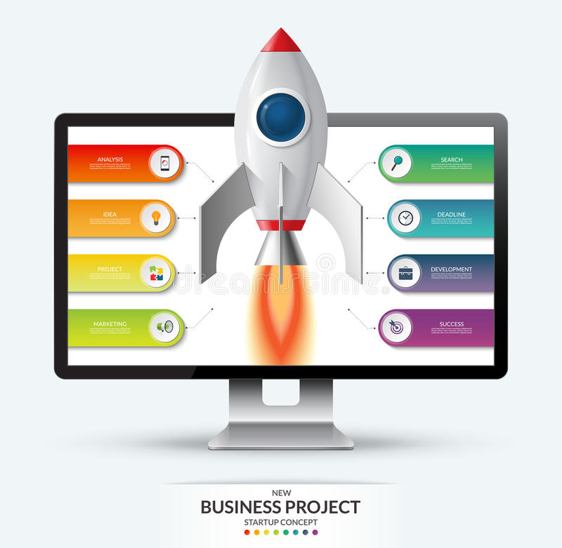 New business project startup concept. Space rocket launch from the computer monitor. Infographic template with 8 options, steps, parts. Vector illustration stock illustration