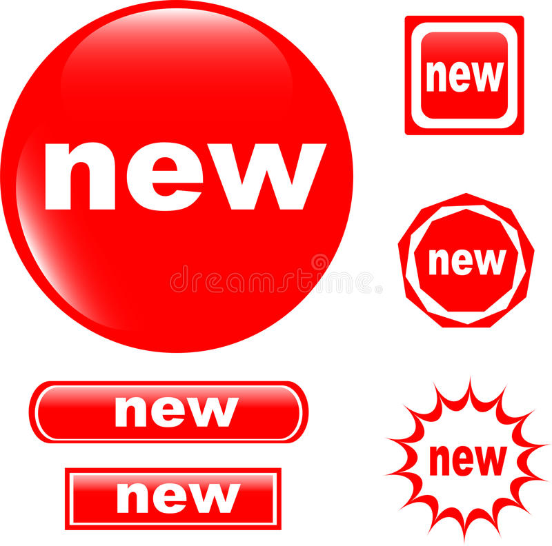 NEW button web glossy icon stock illustration