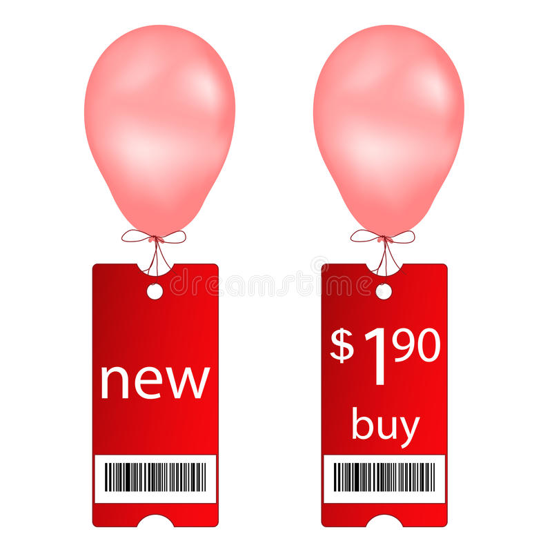 Download New And Buy Tags With Fly Balloon Royalty Free Stock Images - Image: 22468289