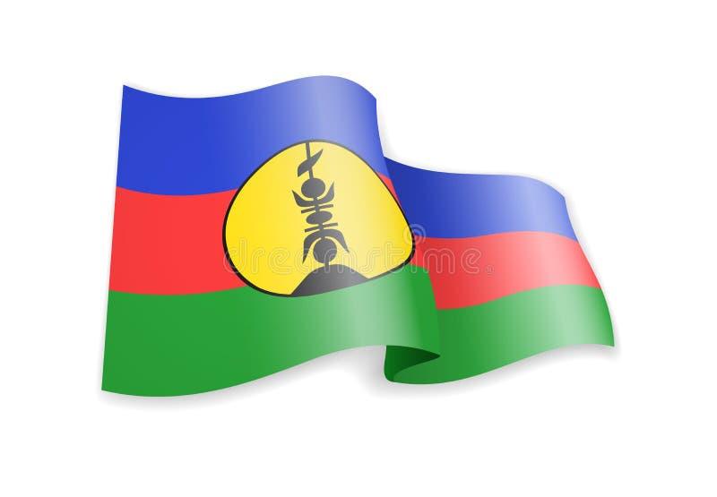 New Caledonia flag in the wind. Flag on white vector illustration vector illustration
