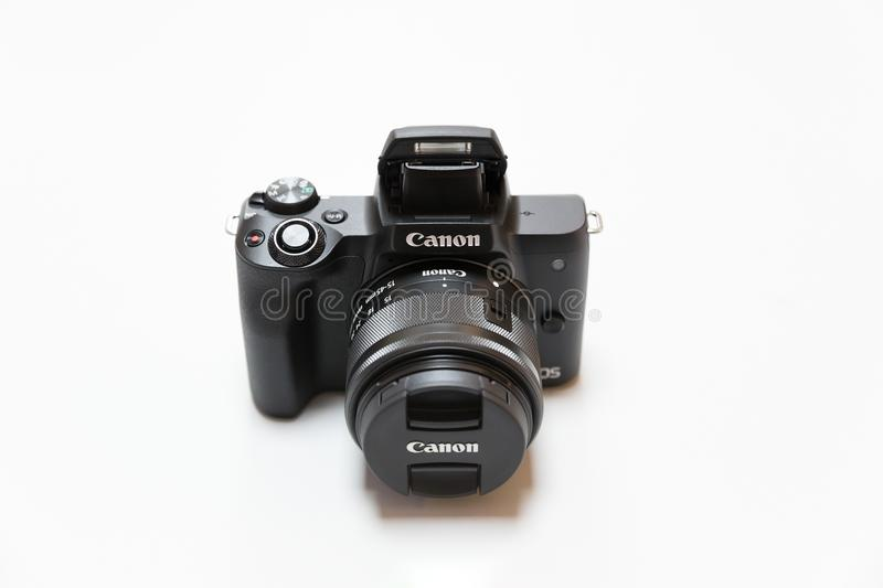 New Canon EOS M50 mirrorless camera isolated on white background royalty free stock images