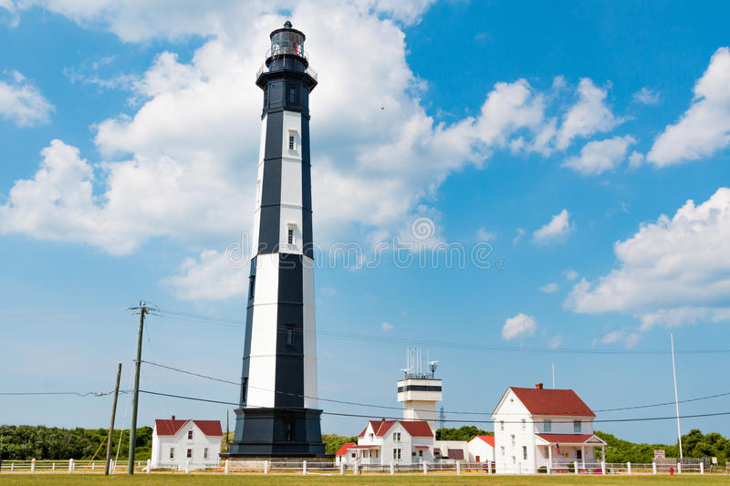 New Cape Henry Lighthouse and Outbuildings in Virginia Beach stock photography
