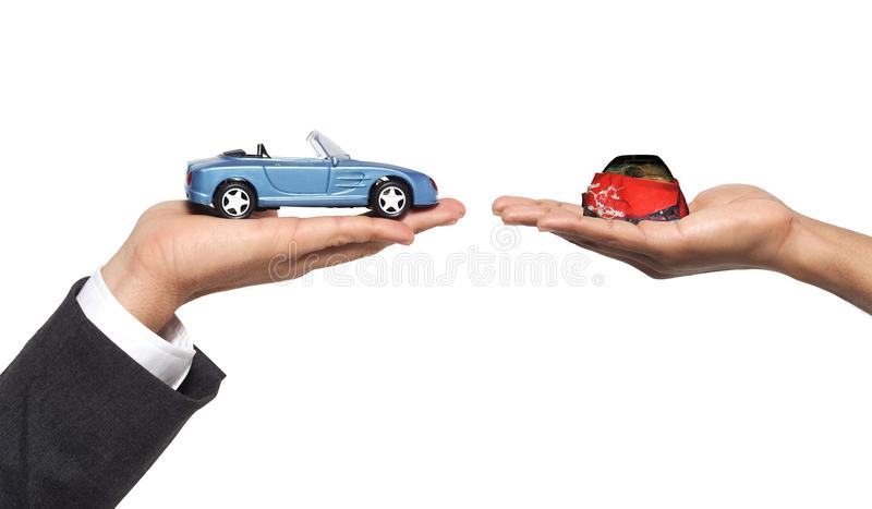 New car after accident. Hands and new car after accident royalty free stock images