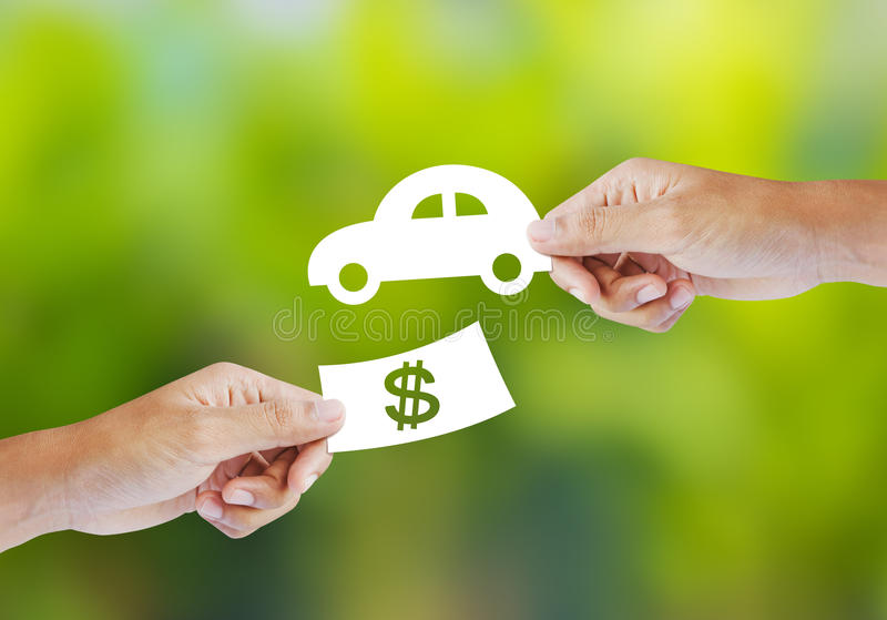 New car buy concept. Hand with paper money and car shape. new car buy concept royalty free stock photography