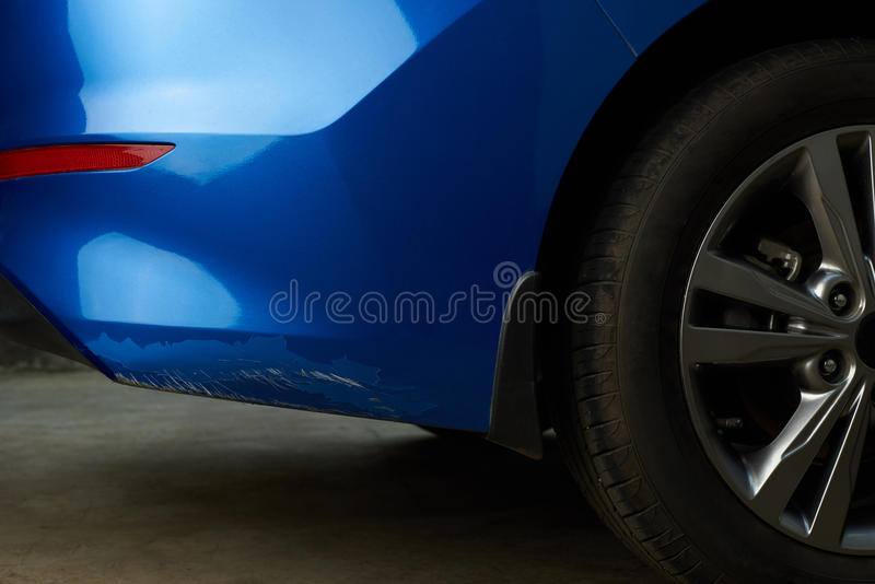 New car with damage paint stock photo