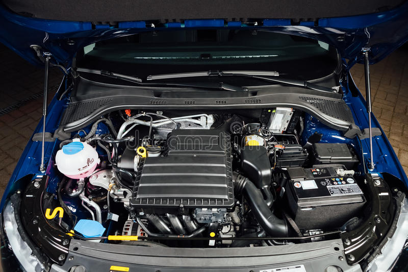 New Car Engine And Parts Under Hood Stock Image - Image of blue ...