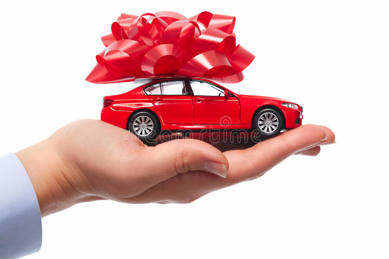 New car gift. Auto dealership and rental concept background royalty free stock images