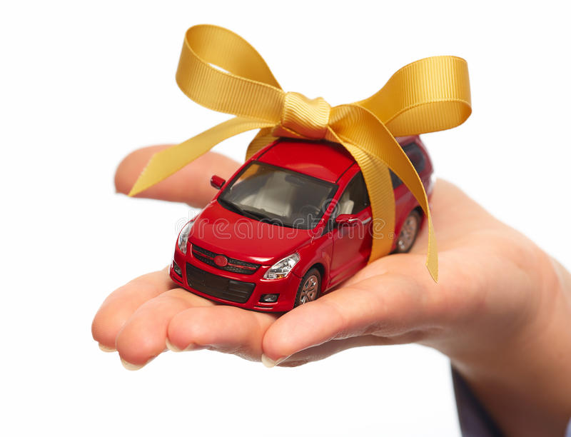 New car gift. Auto dealership and rental concept background royalty free stock image