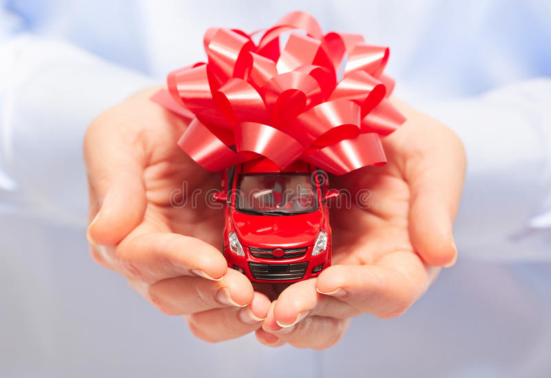 New car gift. Auto dealership and rental concept background stock images