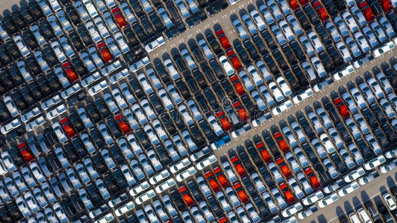 New car lined up in the port for business car import and export logistic, Aerial view royalty free stock photos