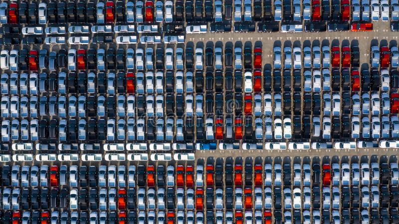 New car lined up in the port for business car import and export logistic, Aerial view stock photography