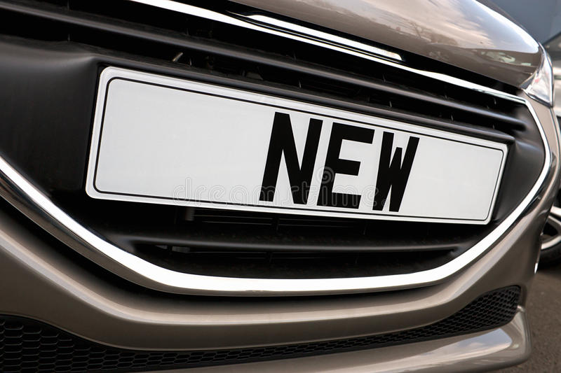 New car Number plate. Number plate of a new car for retail sale on a motor dealers forecourt all logos removed royalty free stock image