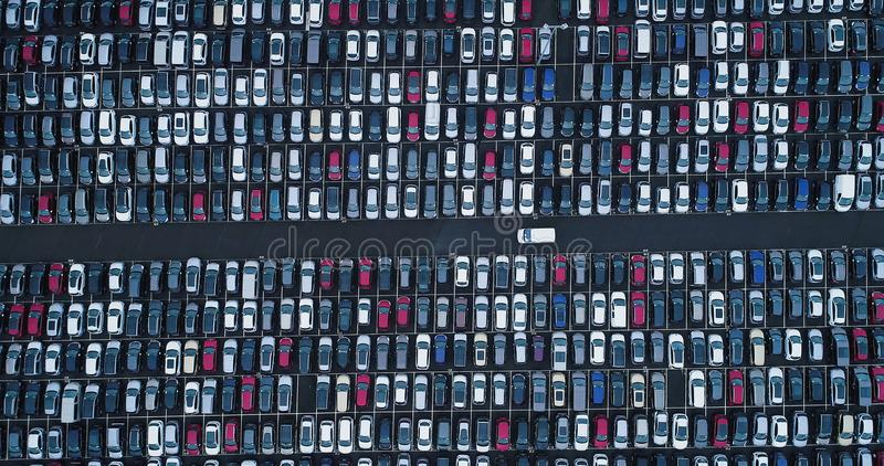 New car park and truck. In aerial view stock images