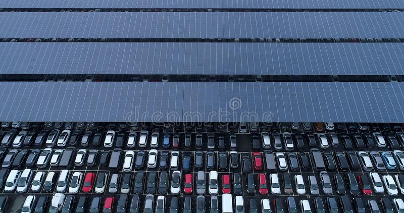 New car park and truck with solar panel stock photos