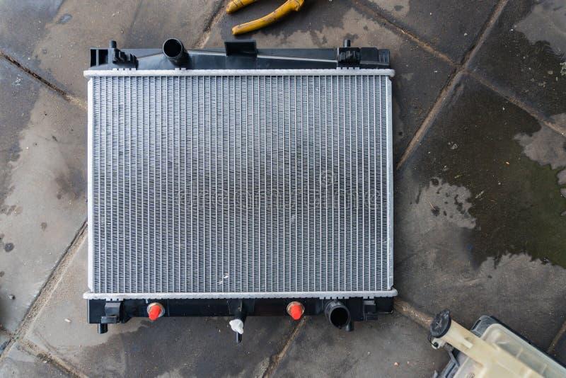 New car radiator. Ready to assemble stock photo