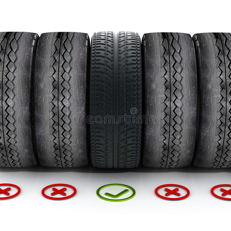 Free New Car Tire With Green Check Mark Standing Out Among Old Tires Royalty Free Stock Photography - 70479237
