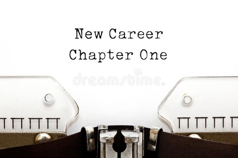 New Career Chapter One Typewriter Concept. New Career Chapter One motivational concept typed on retro typewriter royalty free stock photography