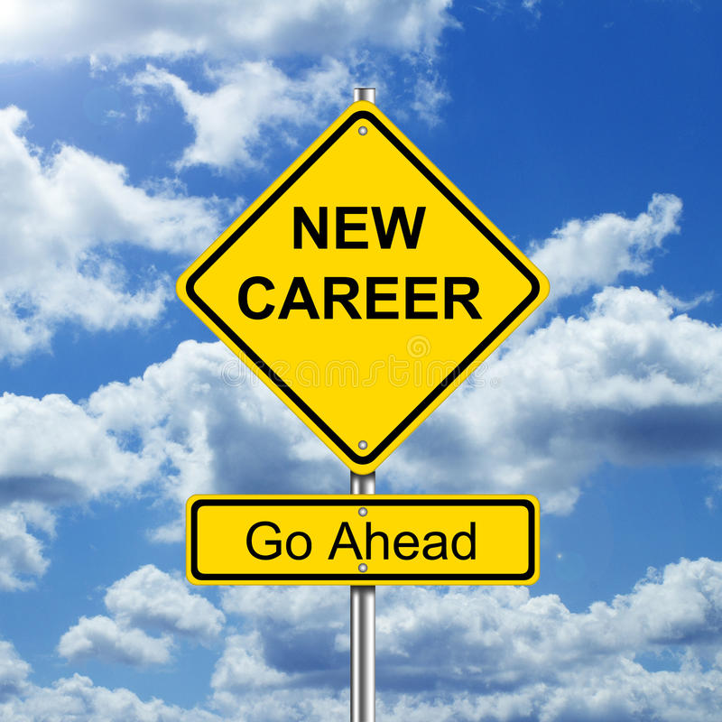 New career. Road sign square stock image