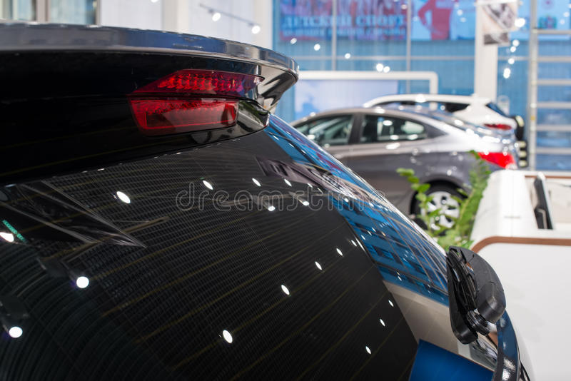 New cars at dealer showroom. Stock of cars in showroom of automobile dealer royalty free stock image