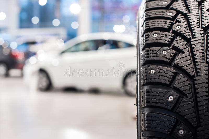 New cars at dealer showroom. Stock of cars in showroom of automobile dealer royalty free stock photo