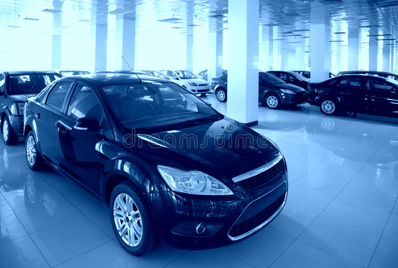 New cars in hall royalty free stock photo