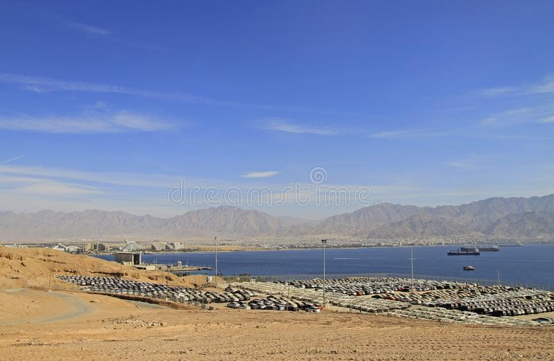 New cars lined up in the port of Eilat royalty free stock image