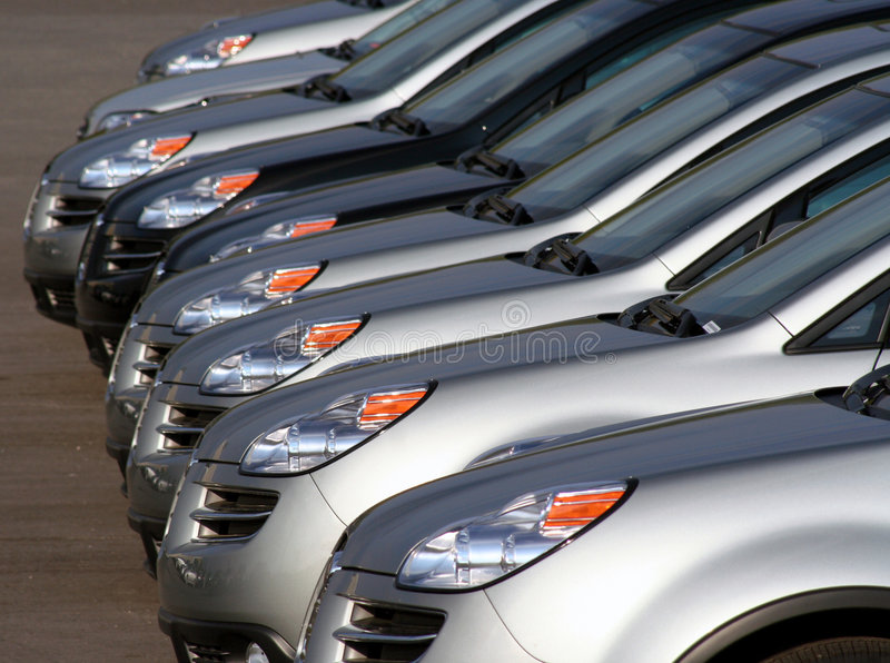 New cars in a lot royalty free stock photo