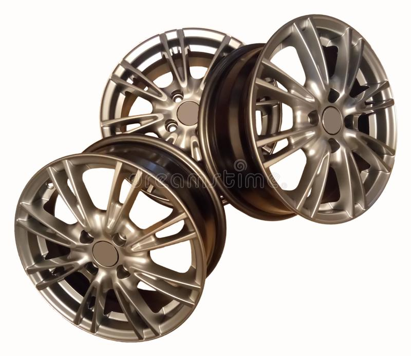New cast silver car wheels stock photography