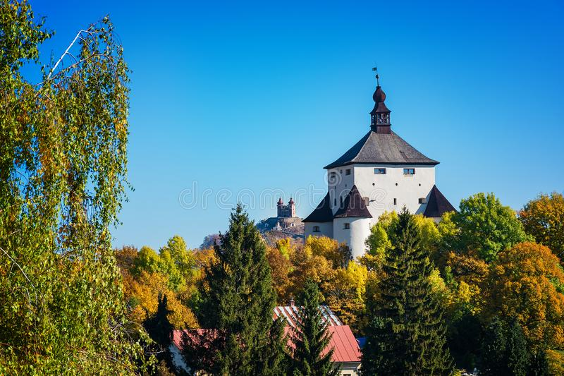 New castle and Calvary – autumn in Banska Stiavnica, Slovakia royalty free stock image