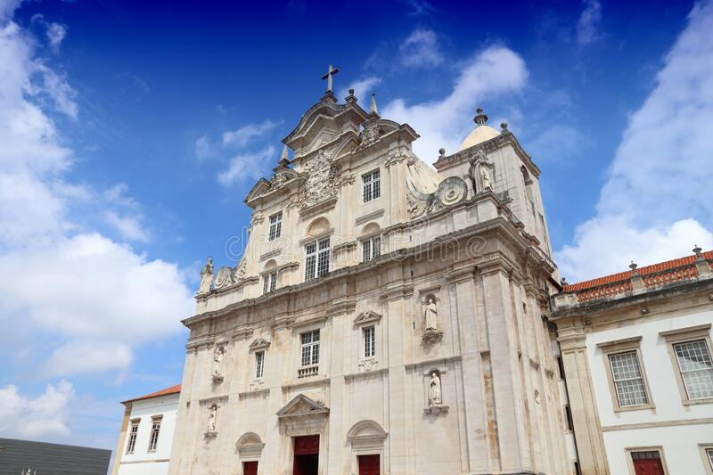 Cathedral in Coimbra Portugal. New Cathedral of Coimbra in Portugal. Baroque religious architecture stock image