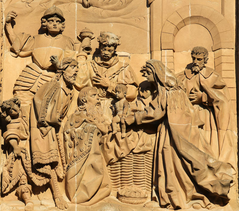 New Cathedral of Salamanca - Adoration by the Magi stock image