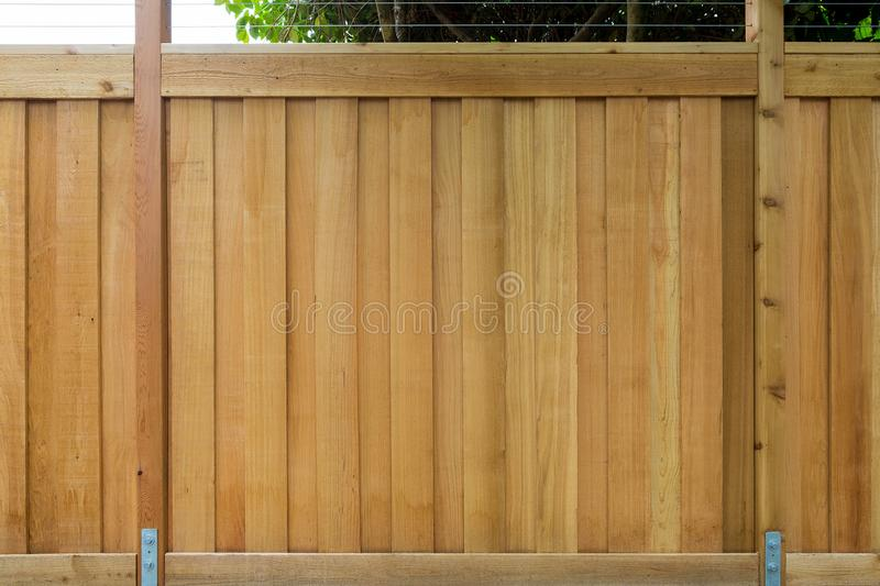 New Cedar Wood Fencing Front View around house. New Cedar Wood Fence around house garden property front view closeup royalty free stock photography
