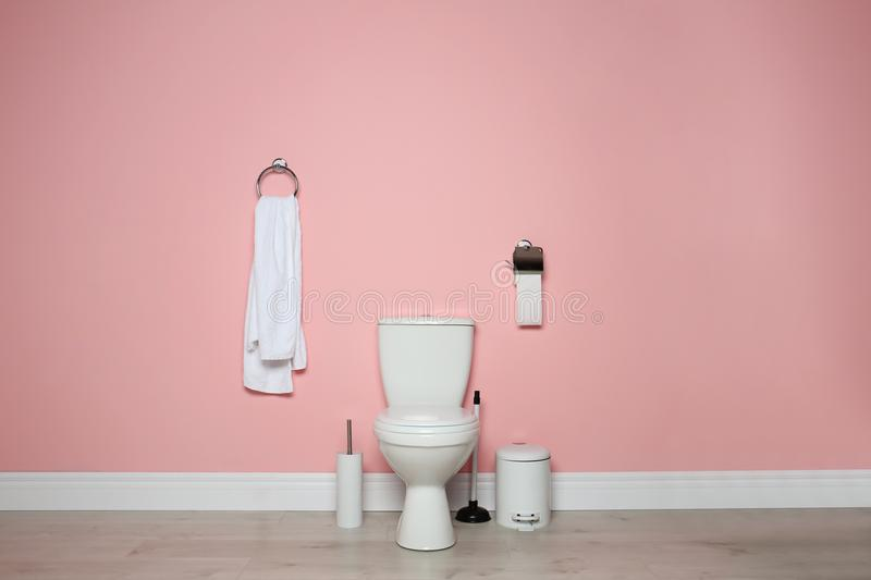 New ceramic toilet bow. L in modern bathroom stock photos
