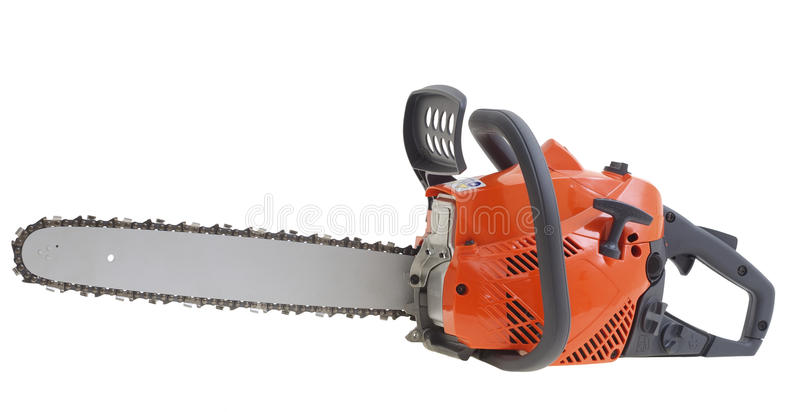 New chainsaw isolated on white background royalty free stock photos