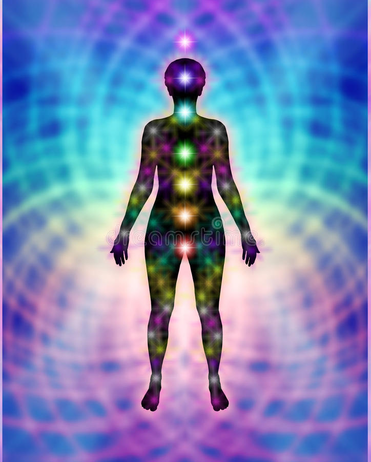 New Chakras and Energy Matrix Field Diagram vector illustration