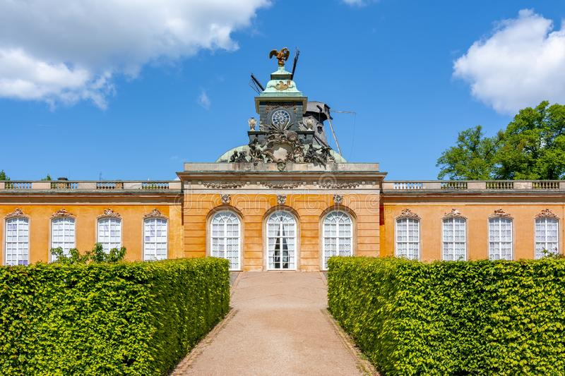 New Chambers Neue Kammern palace and Windmill Windmuhle in  Sanssouci park, Potsdam, Germany royalty free stock images
