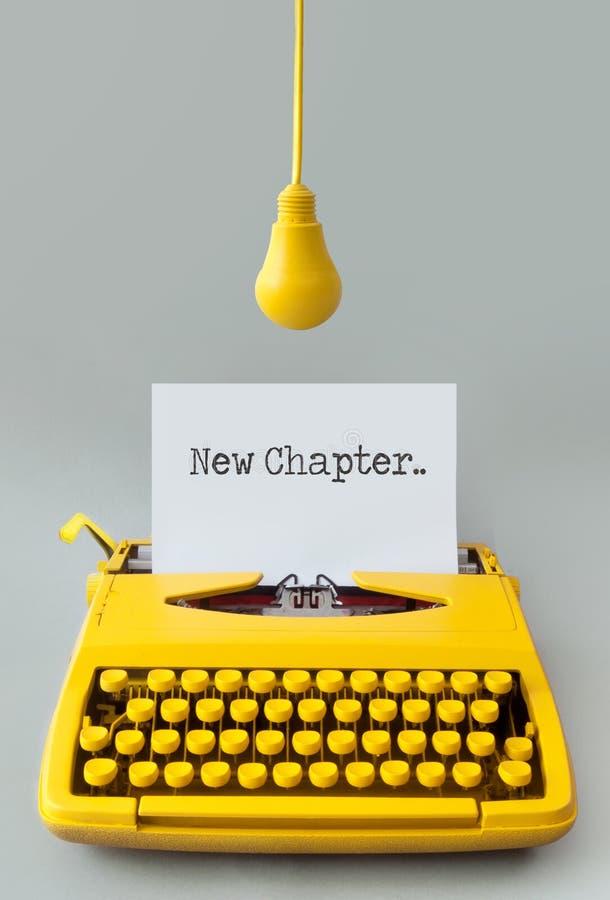 New chapter typewriter closeup stock photo